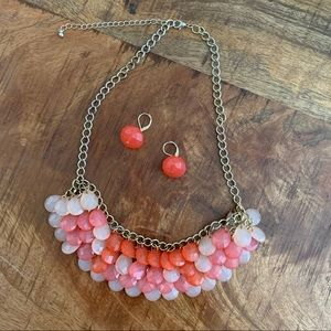 Jewelry - Ombré Coral Pink Necklace and Earring Set